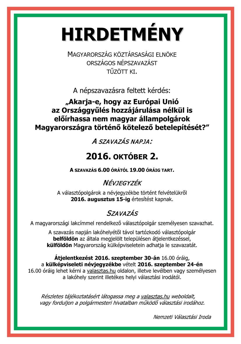 Tiszavasvári Önkormányzat - Hirdetmény  Országos Népszavazás 2016. október  2. 7cf8b78f99