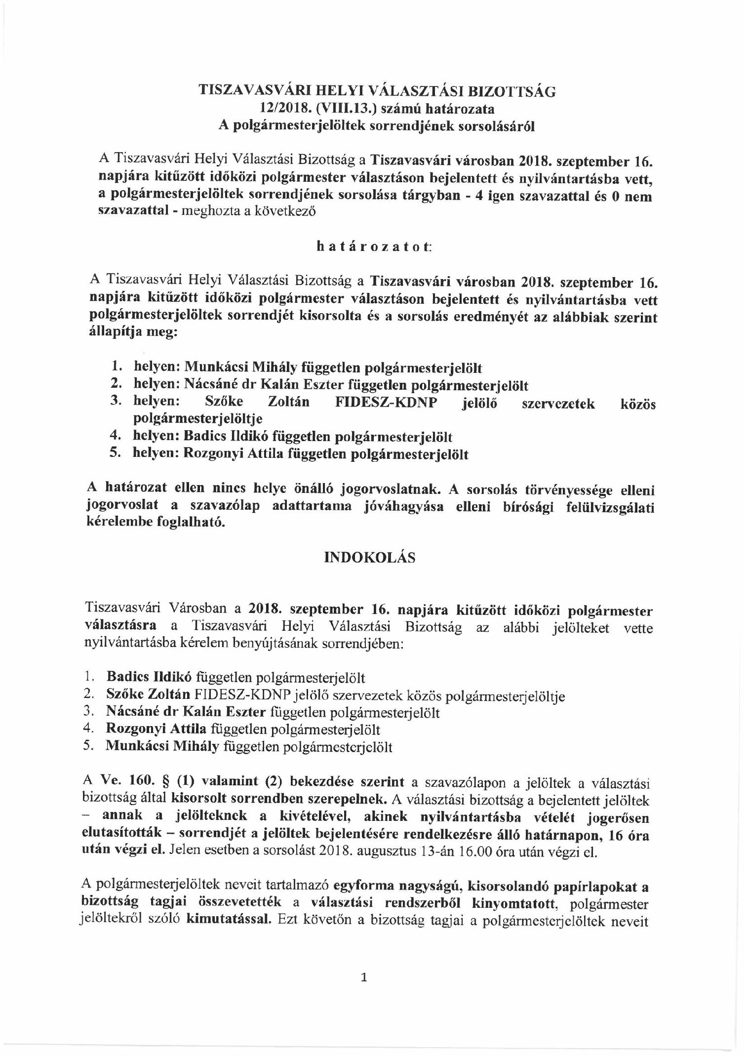 Helyi Választási Bizottság határozata  12-2018.(VIII.13.) 2ffab8cb76