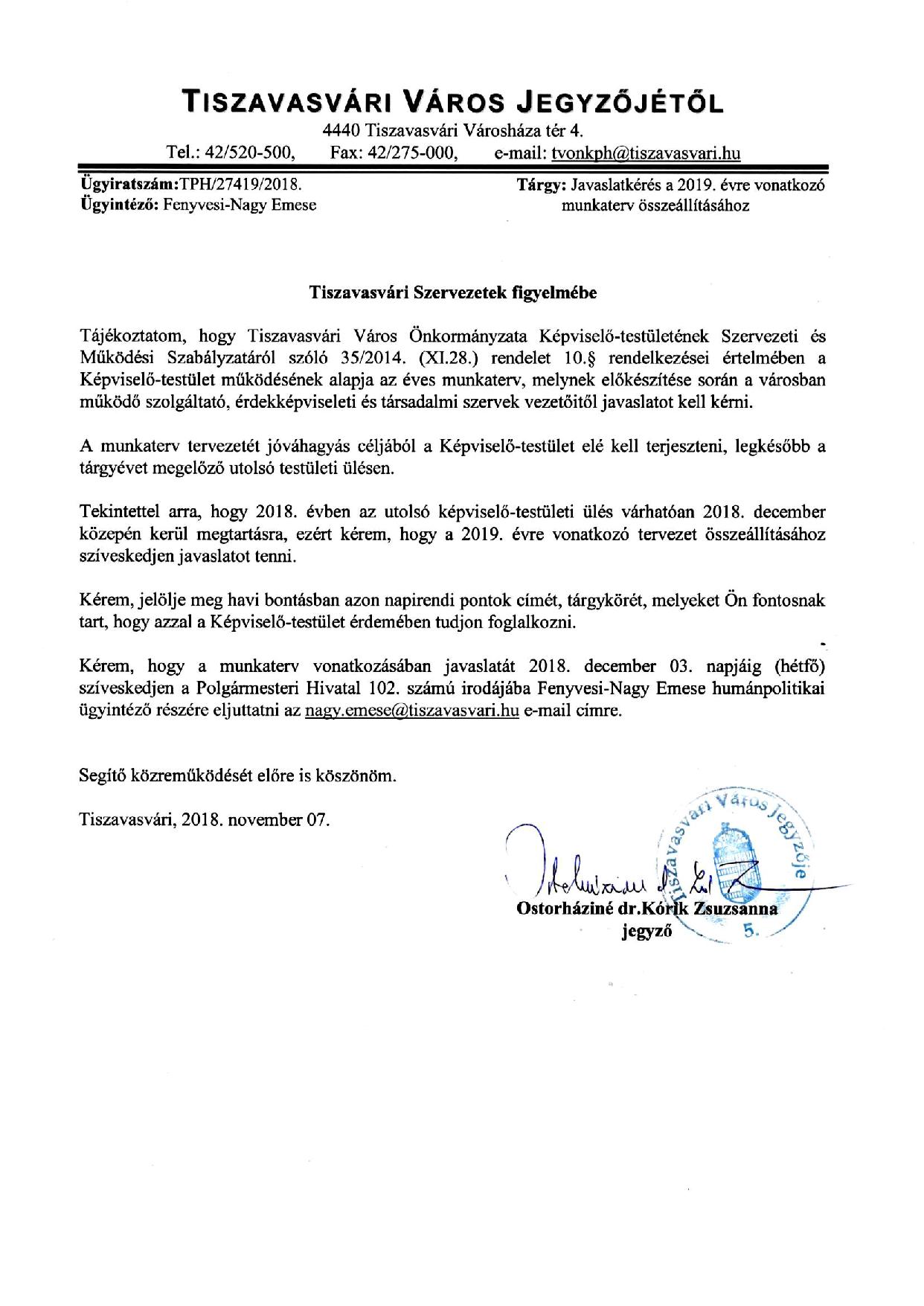 68eea25213 Tiszavasvári Szervezetek figyelmébe!
