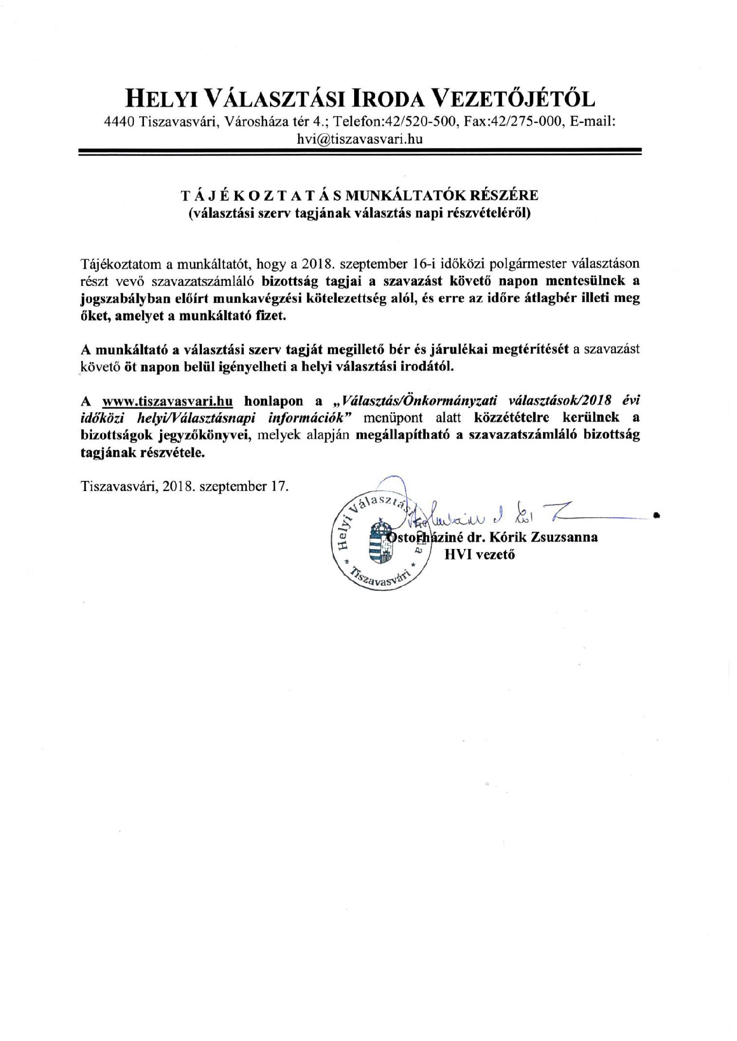 65cfc82a37 Helyi Választási Iroda Vezetőjétől: tájékoztatás munkáltatók részére