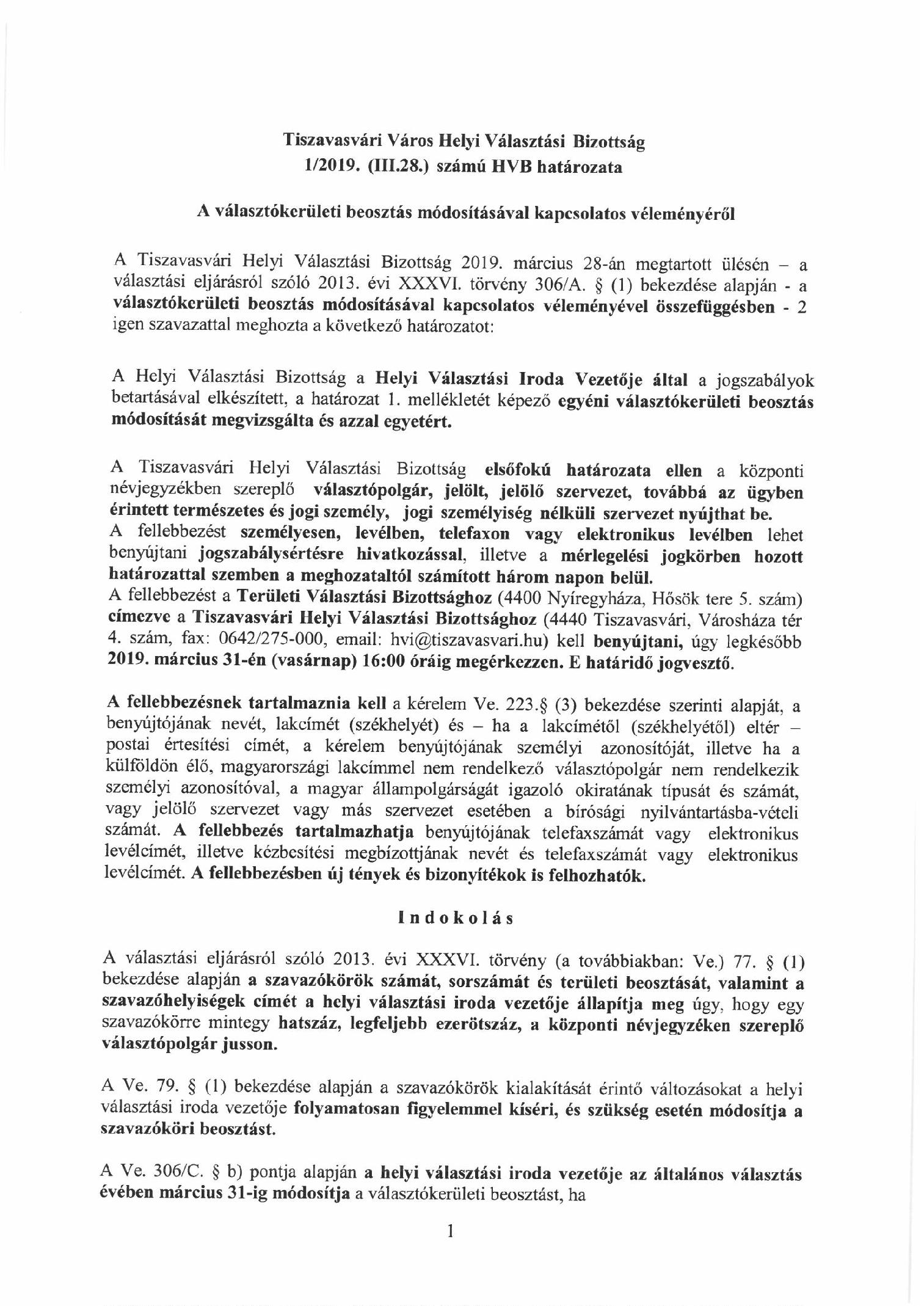 b25aab9654 Helyi Választási Bizottság: 1-2019.(III.28.) számú határozata