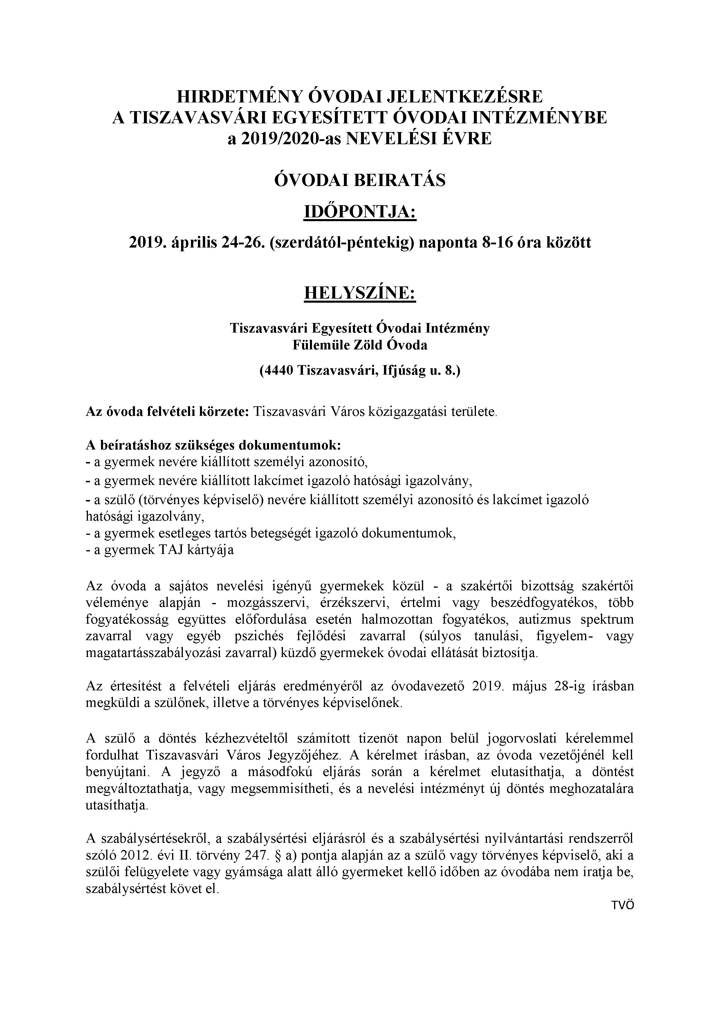 23d6797fed Hirdetmény: Óvodai jelentkezés 2019-2020-as nevelési évre