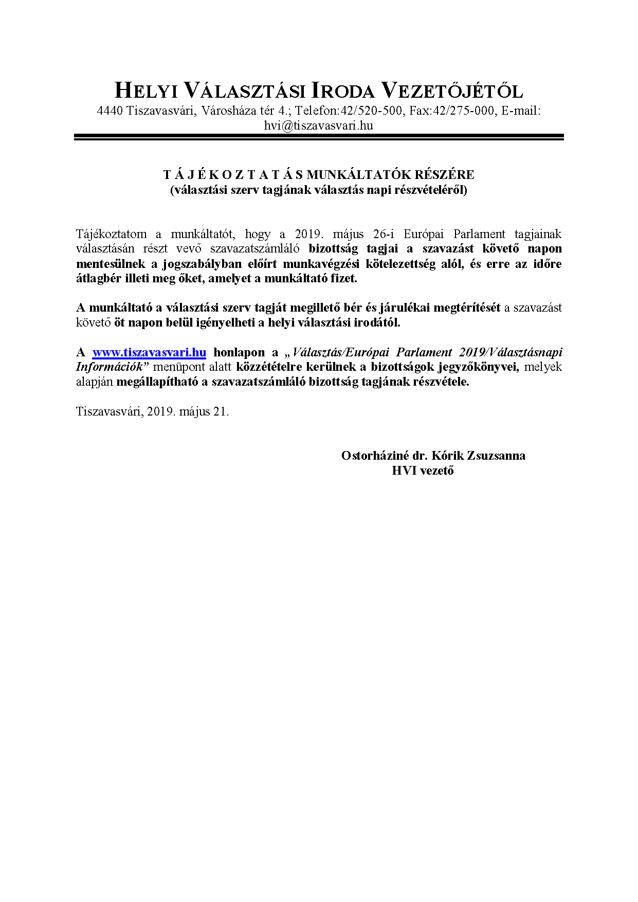 590e12ddd7 HVI közlemény: Tájékoztatás munkáltatók részére