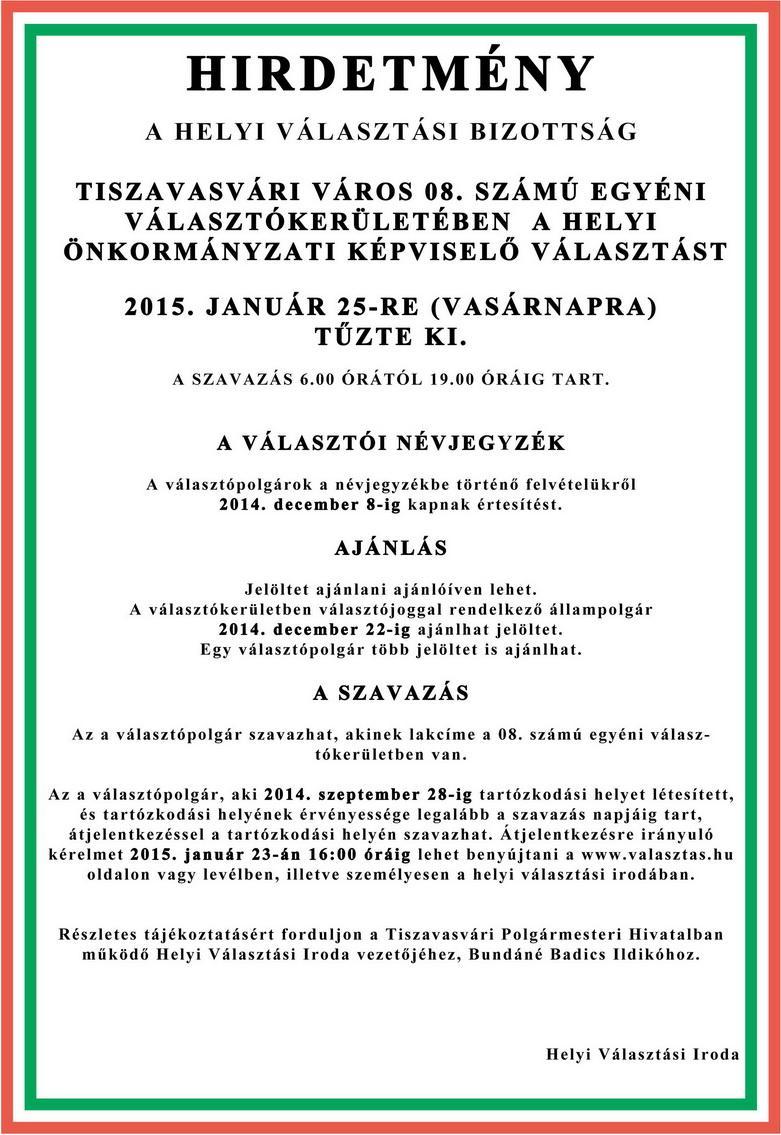 Tiszavasvári Önkormányzat - Hirdetmény  2015. évi időközi helyi önkormányzati  választás be7a0dfe22